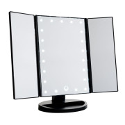 Uniq Hollywood Trifold Makeup Mirror with LED Light - Swart