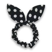 Scrunchie w. Bunny Ears - Black w. White Dots