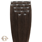 Clip on hair extensions #4 Chocolate Brown - 7 stuks - 50 cm | Gold24