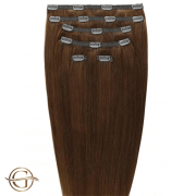 Clip on hair extensions #6 Brown - 7 stuks - 60 cm | Gold24