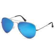 Lux® Aviator Pilot Sunglasses - Blue Glass and Silver Frame