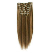 Clip-on hair extensions - 50 cm - #4/27 Chocolade Bruin/Midden Blond Mix