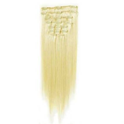 Clip-on hair extensions - 50 cm - #60 Platinum Blond