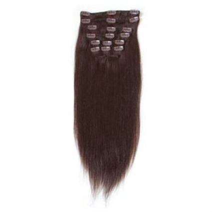 Clip-on hair extensions - 50 cm - #2 Donkerbruin
