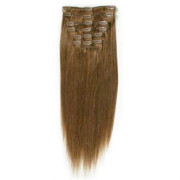 Clip-on hair extensions - 65 cm - #6 Bruin