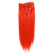 Clip-on hair extensions - 65 cm - Rood